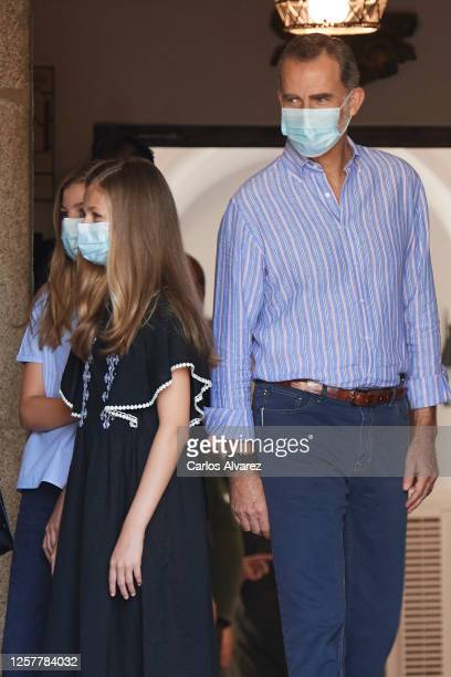 King Felipe VI of Spain, Princess Leonor of Spain and Princess Sofia of Spain are seen leaving from the Parador of Merida on July 23, 2020 in Merida,...