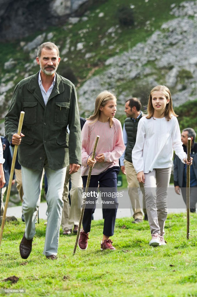 King Felipe VI of Spain, Princess Leonor of Spain (R) Princess Sofia of Spain (L) attend the Centenary of the creation of the National Park of Covadonga's Mountain and the opening of the Princess of Asturias viewpoint at Lagos de Covadonga on September 8, 2018 in Cangas de Onis, Spain on September 8, 2018 in Covadonga, Spain.