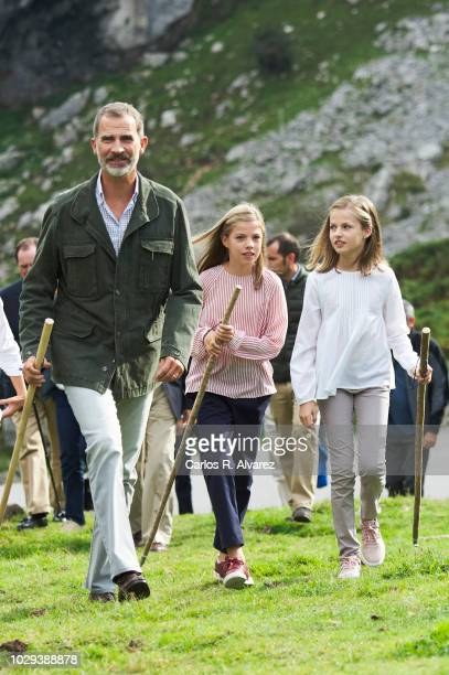 King Felipe VI of Spain Princess Leonor of Spain Princess Sofia of Spain attend the Centenary of the creation of the National Park of Covadonga's...