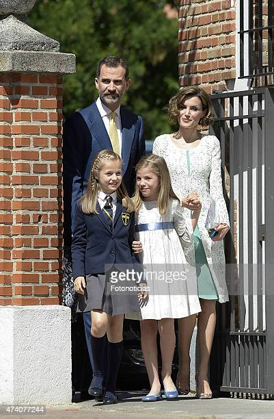 King Felipe VI of Spain Princess Leonor of Spain Princess Sofia of Spain and Queen Letizia of Spain arrive at the Asuncion de Nuestra Senora Church...