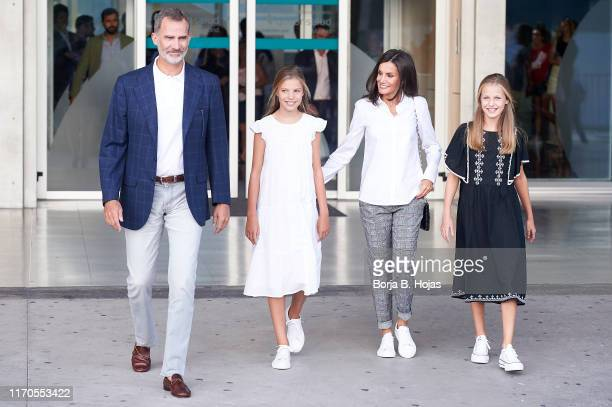 King Felipe VI of Spain Princess Sofia of Spain Queen Letizia of Spain and Princess Leonor of Spain are seen arriving to visit King Juan Carlos at...