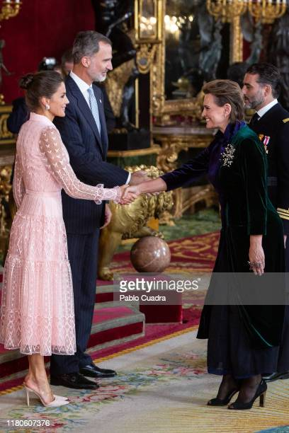 King Felipe VI of Spain Queen Letizia of Spain and Ainhoa Arteta attend a reception at the Royal Palace during the National Day on October 12 2019 in...