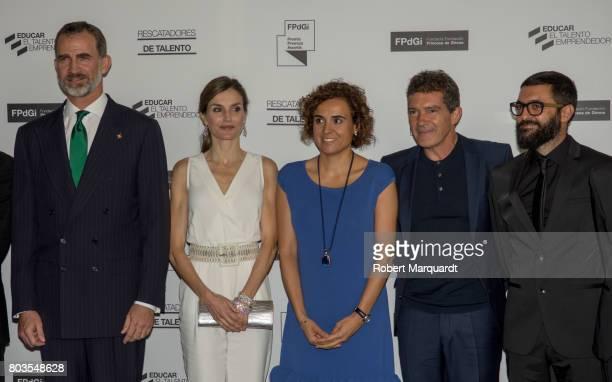King Felipe VI of Spain Queen Letizia of Spain and Antonio Banderas attend the 'Princesa de Girona' foundation awards held at the Palacio de...