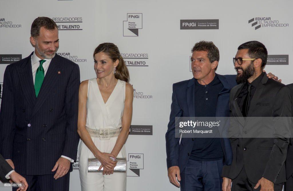 King Felipe VI of Spain (L), Queen Letizia of Spain (2ndL) and Antonio Banderas (2ndR) attend the 'Princesa de Girona' foundation awards held at the Palacio de Congressos de Girona on June 29, 2017 in Girona, Spain.