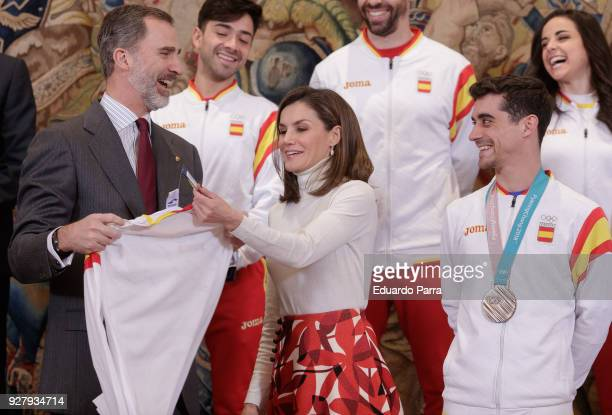 King Felipe VI of Spain Queen Letizia of Spain and artistic skater Javier Fernandez receive the spanish Winter Olympics Team at Zarzuela palace on...