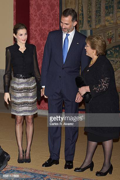 King Felipe VI of Spain Queen Letizia of Spain and Chilean President Michelle Bachelet host a reception at the El Pardo Palace on October 30 2014 in...