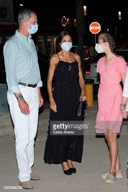 King Felipe VI of Spain, Queen Letizia of Spain and Crown Princess Leonor of Spain leave the Ola de Mar restaurant on August 07, 2021 in Palma de...