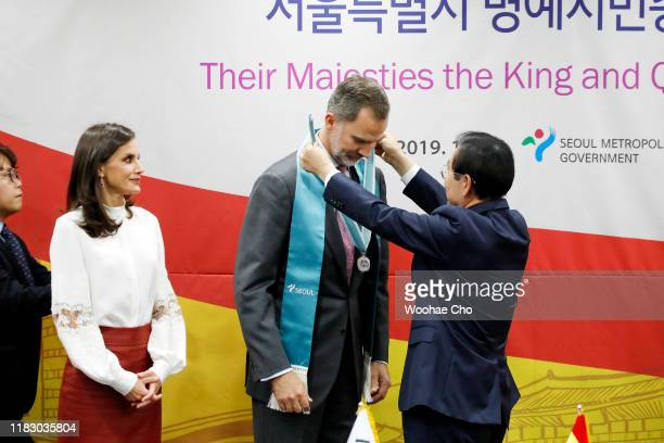 King Felipe VI of Spain Queen Letizia of Spain and Mayor of Seoul Park Wonsoon attend a ceremonial event appointing Their Majesties The King and...