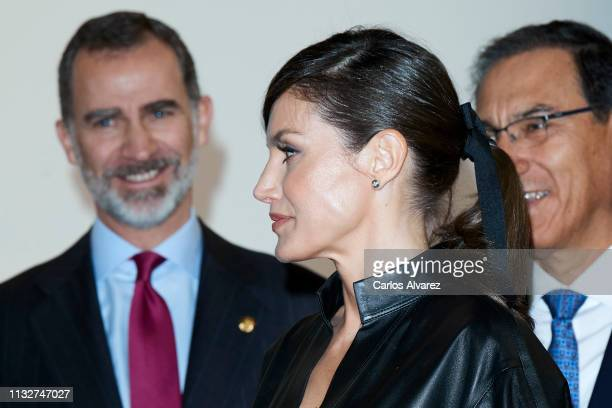 King Felipe VI of Spain Queen Letizia of Spain and Peruvian president Martin Alberto Vizcarra attend the opening of ARCO 2019 at Ifema on February 28...