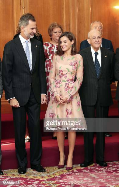 King Felipe VI of Spain Queen Letizia of Spain and Placido Arango attend several audiences during the Princess of Asturias awards 2017 at the...