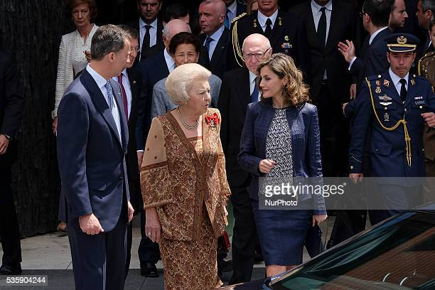 King Felipe VI of Spain Queen Letizia of Spain and Princess Beatrice of Holland attend the 'El Bosco' 5th Centenary Anniversary Exhibition at the El...