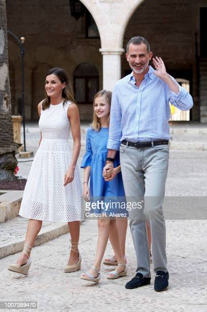 King Felipe VI of Spain Queen Letizia of Spain and Princess Leonor of Spain pose for the photographers during the summer session at the Almudaina...