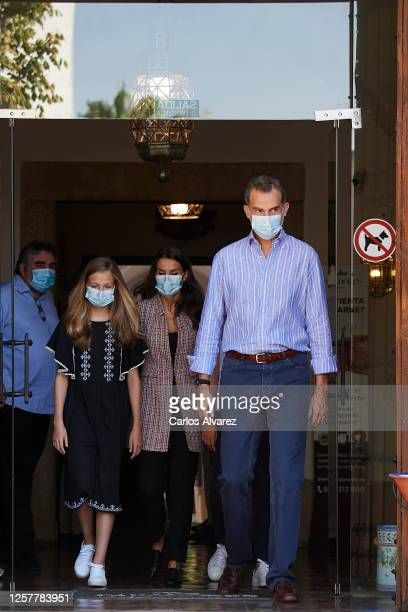 King Felipe VI of Spain, Queen Letizia of Spain and Princess Leonor of Spain are seen leaving from the Parador of Merida on July 23, 2020 in Merida,...