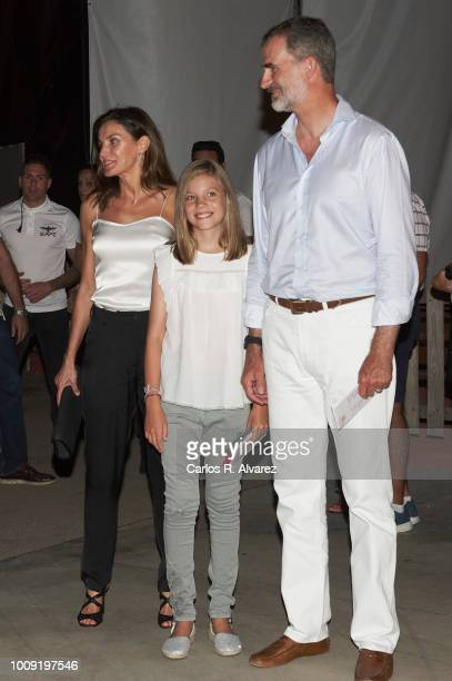 King Felipe VI of Spain Queen Letizia of Spain and Princess Sofia of Spain attend Ara Malikian concert at Port Adriano on August 1 2018 in Palma de...