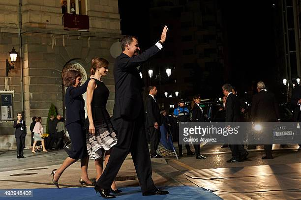 King Felipe VI of Spain Queen Letizia of Spain and Queen Sofia leave the Campoamor Theater after the Princess of Asturias Award 2015 ceremony on...