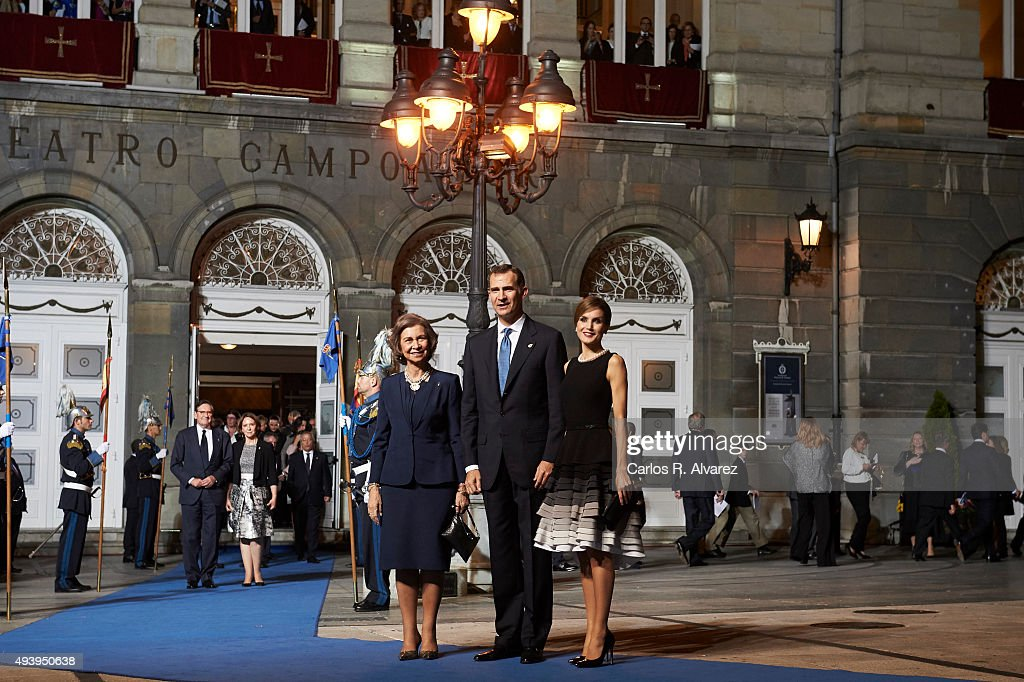 King Felipe VI of Spain (C), Queen Letizia of Spain (R) and Queen Sofia (L) leave the Campoamor Theater after the Princess of Asturias Award 2015 ceremony on October 23, 2015 in Oviedo, Spain.