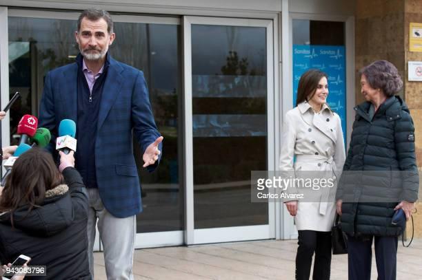 King Felipe VI of Spain Queen Letizia of Spain and Queen Sofia visit King Juan Carlos at La Moraleja Hospital on April 7 2018 in Madrid Spain King...