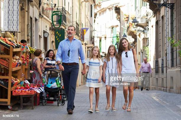 King Felipe VI of Spain Queen Letizia of Spain and their daughters Princess Leonor and Princess Sofia visit the Can Prunera Museum on August 6 2017...