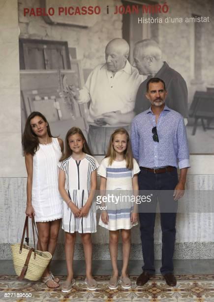 King Felipe VI of Spain Queen Letizia of Spain and their daughters Princess Leonor of Spain and Princess Sofia of Spain visit the Can Prunera Museum...