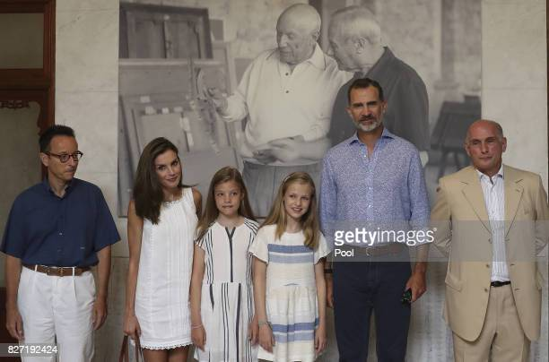 King Felipe VI of Spain Queen Letizia of Spain and their daughters Princess Leonor of Spain and Princess Sofia of Spain along with Bernard...