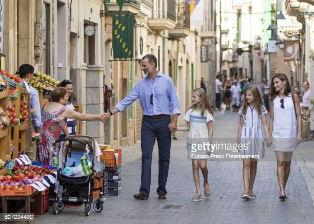 King Felipe VI of Spain Queen Letizia of Spain and their daughters Princess Leonor of Spain and Princess Sofia of Spain visit the Can Prunera Museum...