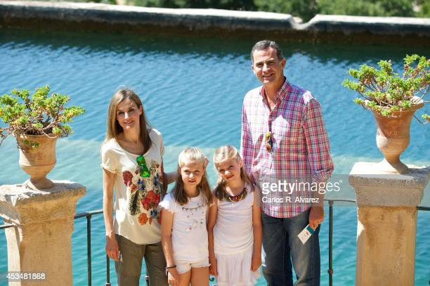 King Felipe VI of Spain Queen Letizia of Spain and their daugthers Princess Leonor of Spain and Princess Sofia of Spain visit 'Sierra de Tramuntana'...