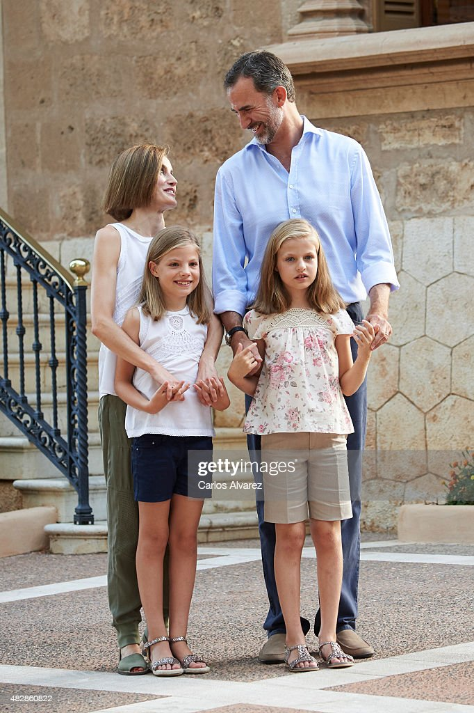 King Felipe VI of Spain, Queen Letizia of Spain and their daugthers Princess Leonor of Spain (R) and Princess Sofia of Spain (L) pose for the photographers at the Marivent Palace on August 3, 2015 in Palma de Mallorca, Spain.