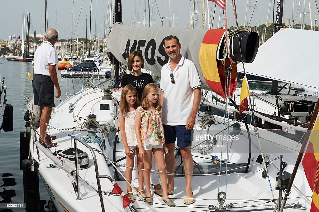 King Felipe VI of Spain, Queen Letizia of Spain and their daugthers Princess Leonor of Spain (R) and Princess Sofia of Spain (L) visit the Aifos boat during the last day of 34th Copa del Rey Mapfre Sailing Cup on August 8, 2015 in Palma de Mallorca, Spain.