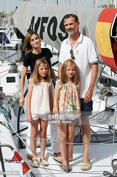 King Felipe VI of Spain Queen Letizia of Spain and their daugthers Princess Leonor of Spain and Princess Sofia of Spain visit the Aifos boat during...