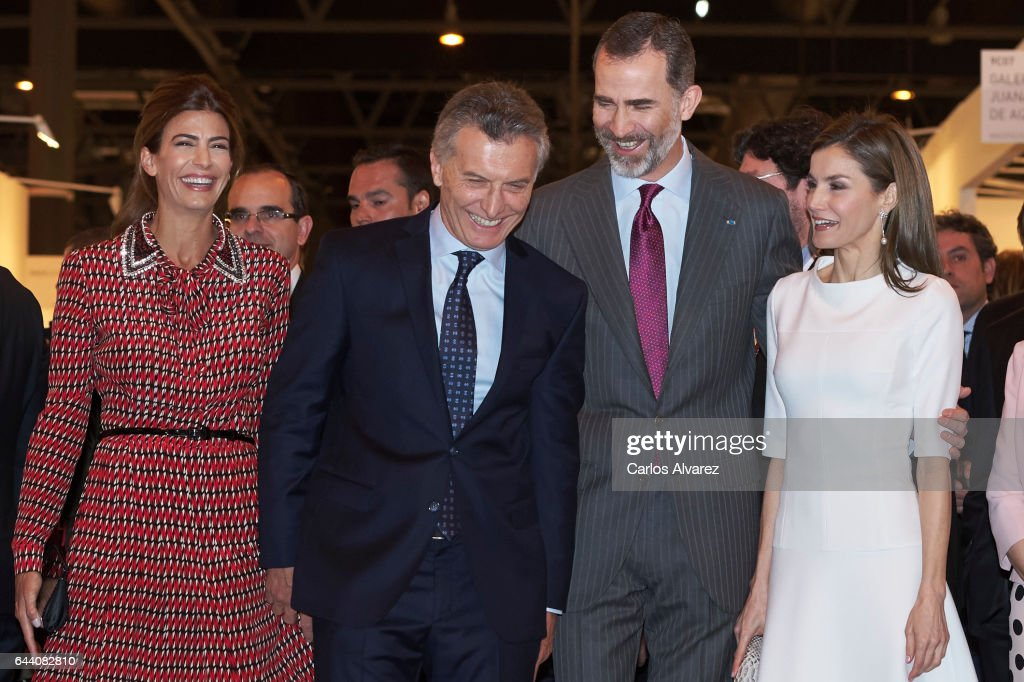 King Felipe VI of Spain (2R), Queen Letizia of Spain (R), Argentina's President Mauricio Macri (2L) and wife Juliana Awada (L) attend the opening of ARCO 2017 (Contemporary Art Fair) at Ifema on February 23, 2017 in Madrid, Spain.
