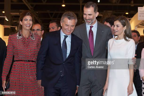 King Felipe VI of Spain , Queen Letizia of Spain , Argentina's President Mauricio Macri and wife Juliana Awada attend the opening of ARCO 2017 at...