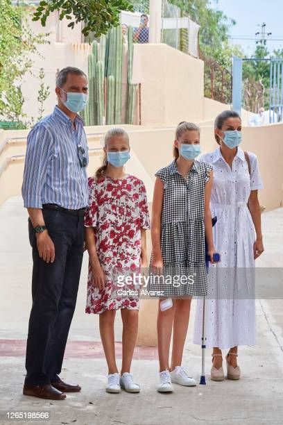 King Felipe VI of Spain, Queen Letizia of Spain, Crown Princess Leonor of Spain and Princess Sofia of Spain visit Naum, a Socio-Educational center on...