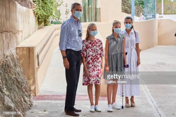 King Felipe VI of Spain, Queen Letizia of Spain, Crown Princess Leonor of Spain and Princess Sofia of Spain visit Naum, a Socio-Educational center on...