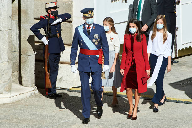 ESP: Spanish Royals Attend The National Day Military Parade