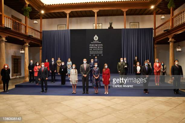 King Felipe VI of Spain, Queen Letizia of Spain, Crown Princess Leonor of Spain and Princess Sofia of Spain attend and audience to congratulate the...