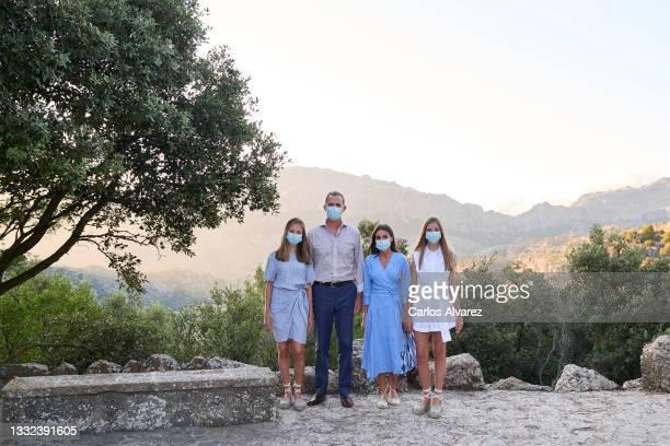 King Felipe VI of Spain, Queen Letizia of Spain, Crown Princess Leonor of Spain and Princess Sofia of Spain visit the Interpretation Center of...