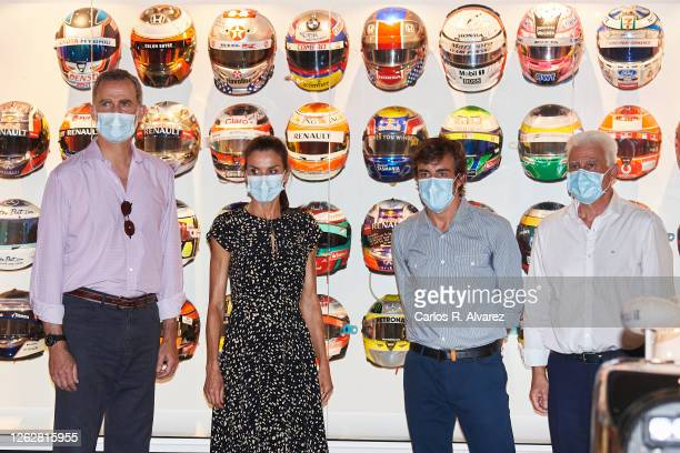 King Felipe VI of Spain Queen Letizia of Spain Fernando Alonso and Jose Luis Alonso during a visit to the Fernando Alonso Museum and Circuit on July...