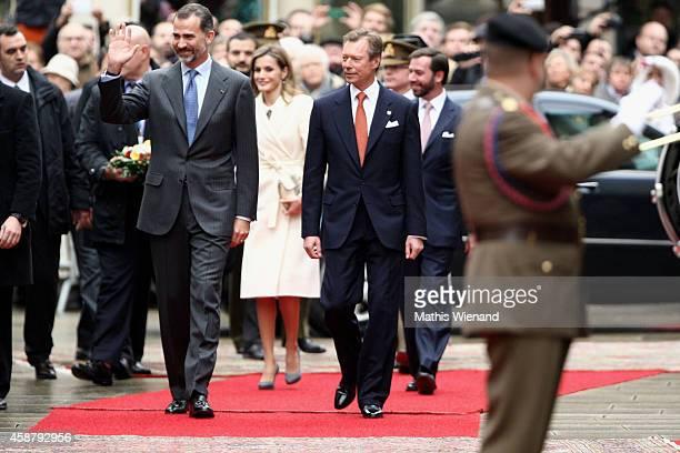 King Felipe VI of Spain Queen Letizia Of Spain Grand Duke Henri of Luxembourg and Prince Guillaume Hereditary Grand Duke of Luxembourg attend a...