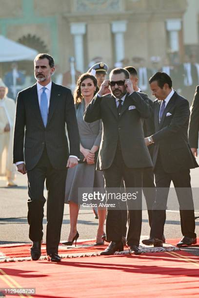 King Felipe VI of Spain, Queen Letizia of Spain, King Mohammed VI of Morocco and Prince Moulay Rachid of Morocco arrive for a welcoming ceremony at...