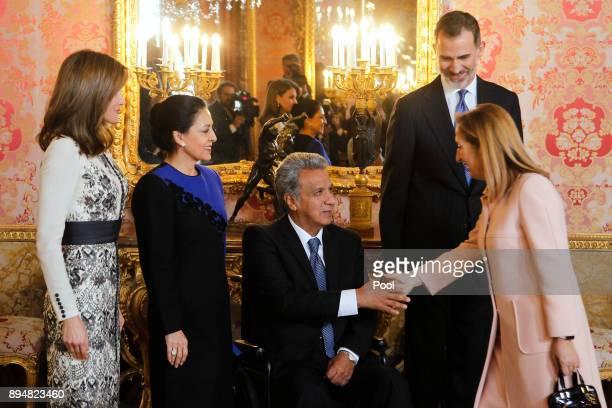 King Felipe VI of Spain Queen Letizia of Spain President of Ecuador Lenin Moreno Garces and his wife Rocio Gonzalez Navas attend an official Lunch at...