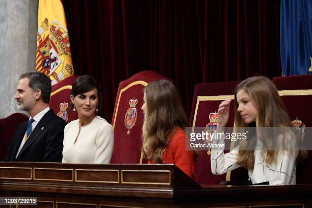 King Felipe VI of Spain, Queen Letizia of Spain, Princess Leonor and Princess Sofia attend the solemn opening of the 14th legislature at the Spanish...