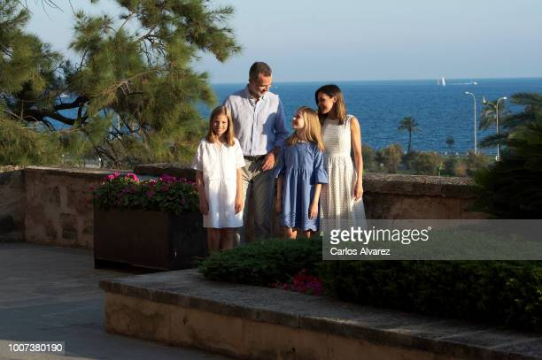 King Felipe VI of Spain Queen Letizia of Spain Princess Leonor of Spain and Princess Sofia of Spain pose for the photographers during the summer...