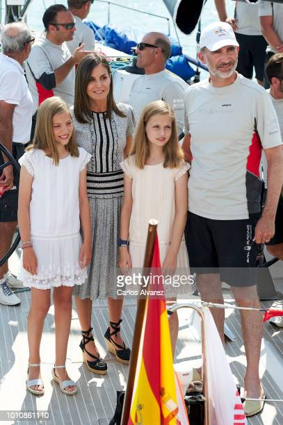 King Felipe VI of Spain Queen Letizia of Spain Princess Leonor of Spain and Princess Sofia of Spain pose for the photographers the last day of the...