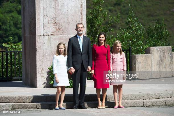 King Felipe VI of Spain Queen Letizia of Spain Princess Leonor of Spain and Princess Sofia of Spain attend the 13rd centenary of the Kingdom of...