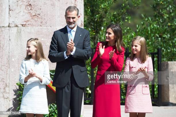 King Felipe VI of Spain Queen Letizia of Spain Princess Leonor of Spain and Princess Sofia of Spain attend the Centenary of the Catholic Coronation...