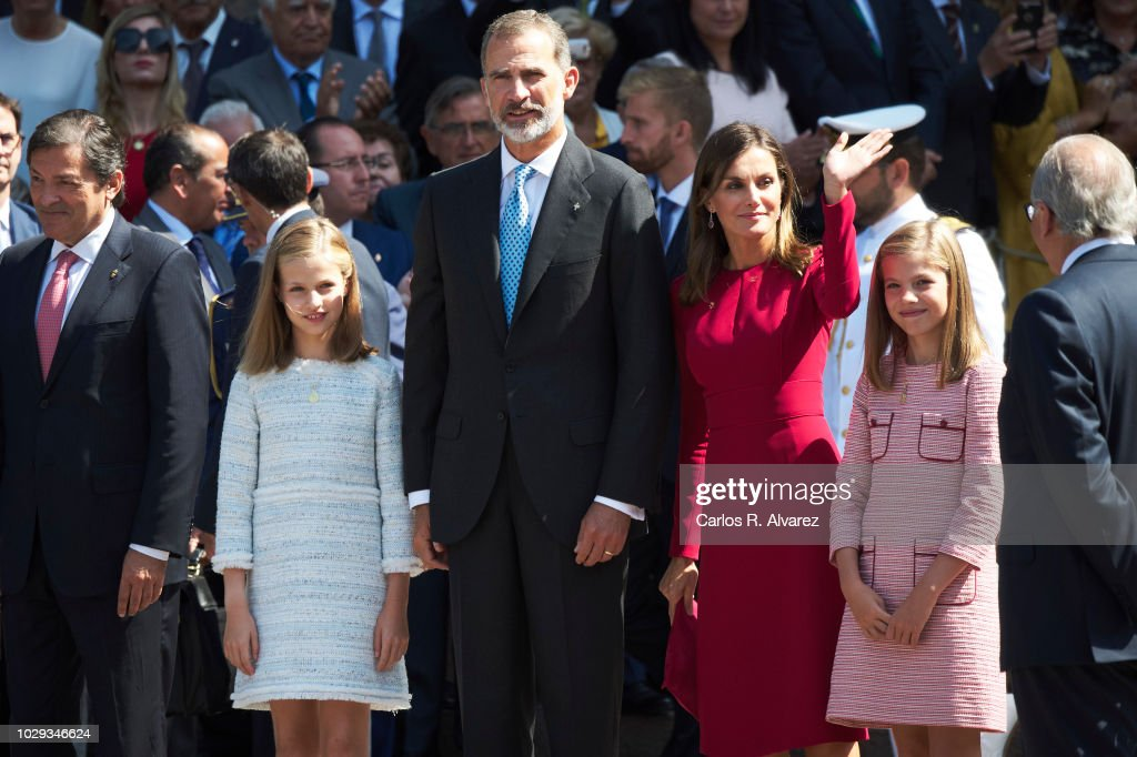 King Felipe VI of Spain, Queen Letizia of Spain, Princess Leonor of Spain (L) and Princess Sofia of Spain (R) attend the Centenary of the Catholic Coronation of the Virgin of Covadonga at Santa Cueva de Covadonga on September 8, 2018 in Covadonga, Spain.