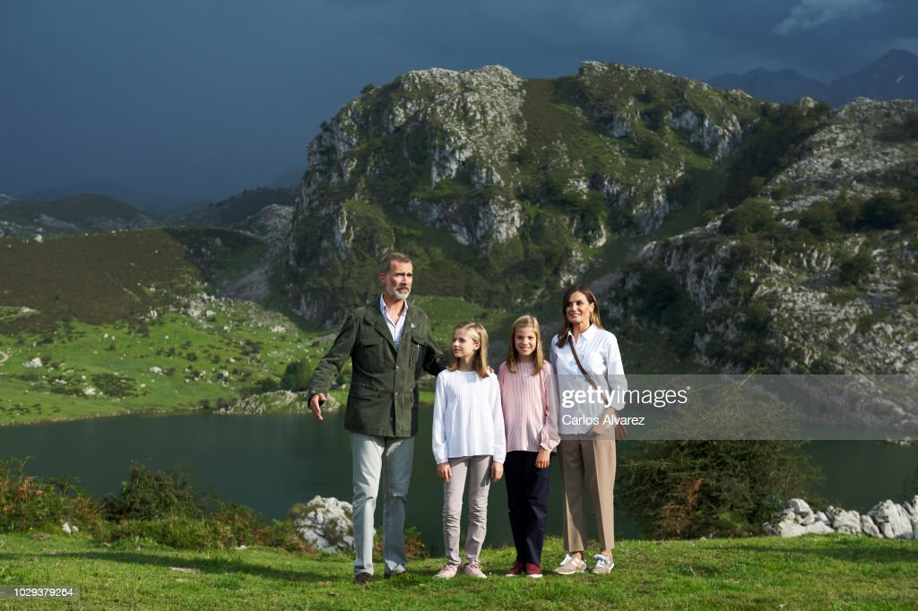 King Felipe VI of Spain, Queen Letizia of Spain, Princess Leonor of Spain (L) Princess Sofia of Spain (R) attend the Centenary of the creation of the National Park of Covadonga's Mountain and the opening of the Princess of Asturias viewpoint at Lagos de Covadonga on September 8, 2018 in Cangas de Onis, Spain on September 8, 2018 in Covadonga, Spain.