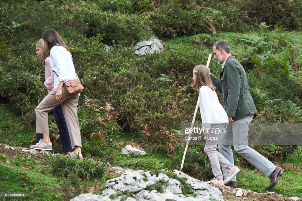 King Felipe VI of Spain, Queen Letizia of Spain, Princess Leonor of Spain (R) Princess Sofia of Spain (L) attend the Centenary of the creation of the National Park of Covadonga's Mountain and the opening of the Princess of Asturias viewpoint at Lagos de Covadonga on September 8, 2018 in Cangas de Onis, Spain on September 8, 2018 in Covadonga, Spain.