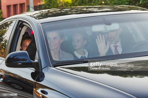 King Felipe VI of Spain Queen Letizia of Spain and Princess Leonor of Spain arrive at the 'Santa Maria de los Rosales' school on the first day of...