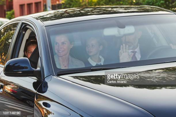 Joe PerezOrive leaves the 'Santa Maria de los Rosales' school on the first day of school on September 11 2018 in Madrid Spain